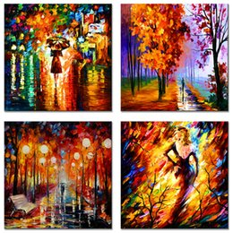 $enCountryForm.capitalKeyWord Australia - AMCART Abstract Canvas Wall Art Lovers Walking in The Park Landscape Knife Painting Prints Canvas for Office Living Room Decor