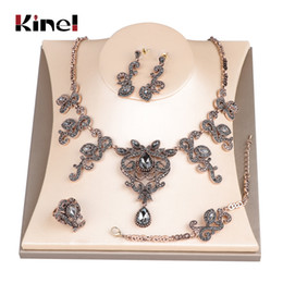 $enCountryForm.capitalKeyWord Australia - Kinel Hot Unique Grey Crystal Wedding Jewelry Set Antique Gold Turkey Flower Earring Necklace Bracelet Ring For Women Love Gift