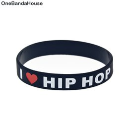 Wholesale hip hop music for sale – custom 100PCS Black and White I Love Hip Hop Silicone Rubber Wristband Adult Size For Music Fans Gift