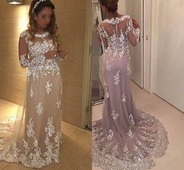 Arabic Dress A-Line Evening Dresses Long Sleeves Sequin Lace Sweep Train  Back Zipper Charming Party Prom Dresses Formal Evening Gowns d6453bf9f4d2