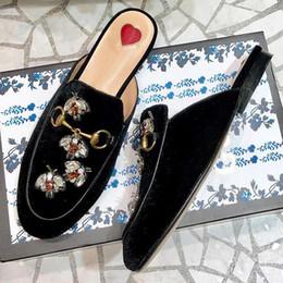 $enCountryForm.capitalKeyWord Australia - 2019 spring and summer new European and American metal buckle rhinestone suede ladies semiskid women's shoes low heel slippers flat qa