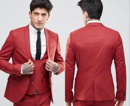 Cool Suit Lapels Australia - Fashion Handsome Deep Red Groom Tuxedos Shawl Lapel One Button Three Pockets Groom Suits Extremely Cool Best Man Suits (Jacket+Pants+Vest )