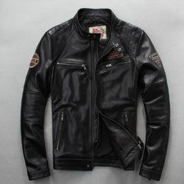 $enCountryForm.capitalKeyWord Australia - Free shipping.wholesales,Genuine leather Jacket,motor biker jacket for man.black slim sheepskin coat.sales plus size cool