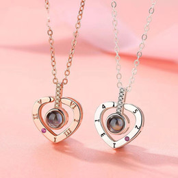 Necklaces Pendants Australia - 100 Languages I Love You Projection Necklace Heart Shape Pendant Necklaces Wedding Engagement Necklace Jewelry 2019 Valentine's Day Gift