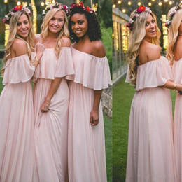 $enCountryForm.capitalKeyWord Australia - 2019 blush pink Bridesmaid Dresses A Line bateau zipper soft Chiffon Cheap Long Beach Wedding Guest Bridesmaids Dress Maid of Honor Gowns