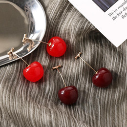 long red dangle earrings 2021 - New Fashion Red Cherry Fruit simple Earrings Fo Dangle Earrings Sweet Long Pendant Girl Gift Summer Korea Jewelry
