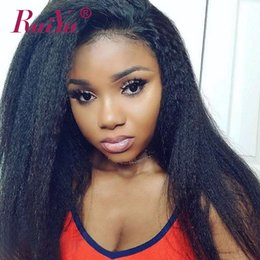 kinky straight yaki wigs NZ - Kinky Straight 360 Full Lace Wigs With Baby Hair Pre Plucked Remy Hair Glueless Yaki Human Hair Lace Front Wigs For Black Woman