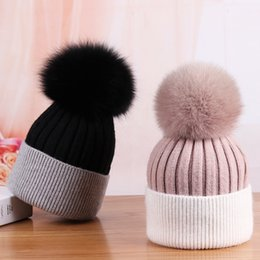 Red bobble hat online shopping - 2017 Fashion Real Fur Pompoms Knitted Beanies Cashmere Wool Big Fur Pom poms Wool Bobble Braided Ski Hat Winter
