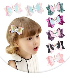 wings hair clips NZ - 32pc lot 2019 New Unicorn Wing Hair Accessories For Girls Children Princess Glitter Hair Bows Clips Handmade Hairpins Headwear