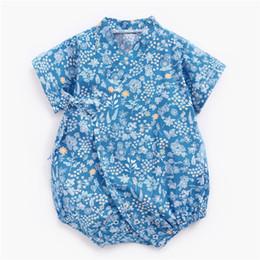 $enCountryForm.capitalKeyWord UK - Newest INS Infant Toddler Baby Girls Flower Rompers Cotton Thin Short Sleeve Floral V-neck Designs Summer Newborn Kids Jumpsuits for 0-3T