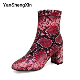 $enCountryForm.capitalKeyWord Australia - Wholesale Shoes Woman Boots Red Blue Black Snake Inner Zip Ankle Boots High Heels Women Shoes Autumn Winter Boots Large Size Ladies Booties