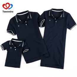 $enCountryForm.capitalKeyWord UK - Summer Family Look Clothing Father Son Polo Shirts Matching Outfits Mother Daughter Dress Mommy And Me Clothes Short Sleeve Tops J190514
