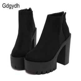 black platform court heels Australia - Gdgydh Fashion Black Ankle Boots For Women Thick Heels Spring Autumn Flock Platform Shoes High Heels Black Zipper Ladies Boots T190911