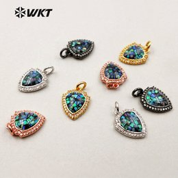 red sparkly wedding jewelry Canada - MP073 WKT Lovely Mini Abalone Shell Shield Shape Pendant With Sparkly Micropave Cubic Zirconia Pendant For Female Jewelry