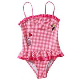 $enCountryForm.capitalKeyWord Australia - 2019 New Kids Girls Swimsuit One Piece Swimwear Plaid Bikini Children Bathing Suit Lovely Bikinis Sports Style Maillot Tankini