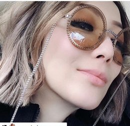 Wholesale High quality Hottest HC4245 round chain style sunglasses UV400 quality metal exqusite leather pearl chain full case outlet