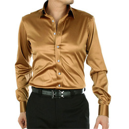 Discount long sleeve mens champagne dress shirt Fashion Shiny Silky Satin Dress Shirt Luxury Silk Like Long Sleeve Mens Casual Shirts Performance Stage Wear