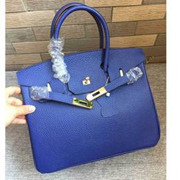 $enCountryForm.capitalKeyWord Australia - Elegant2019 Package Leather Genuine Lightning Blue Head Layer Litchi Grain Cowhide 30cm Long Straps Single Shoulder Portable Diagonal Bag