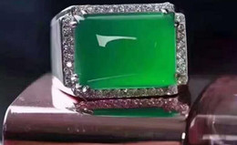 $enCountryForm.capitalKeyWord Australia - Factory wholesale Pure natural high ice green chalcedony s925 sterling silver inlaid men's ring Green agate jade ring