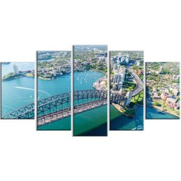 oil painting city bridge Canada - 5 Pcs City Sea Wall Art Canvas Bridge Blue Sky Prints Painting Home Decoration Pictures Modular Frame For Office Poster Artwork
