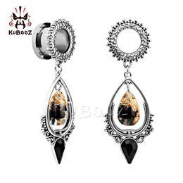 $enCountryForm.capitalKeyWord Australia - Kubooz Ear Piercing Tunnels Plugs Stainless Steel Dangle Teardrop Earrings Stone Expander Ring Body Jewelry Gift For Women 2pcs T190629