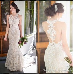 Color wedding dress patterns online shopping - 2018 Sexy Lace Mermaid Wedding Dresses Patterns Saudi Arabia Beach Mariage Wedding Dresses Bridal Gowns