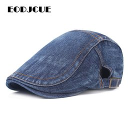 peak hats men Canada - Fashion Solid Denim Beret For Women Men Newsboy Cap Spring Summer Sun Hat Peaked Caps Ivy Flat Cap Casquette