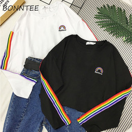 Tee squares online shopping - T shirts Rainbow Striped Kawaii Long Sleeve Soft Loose Embroidery Korean Style Women Tee Lovely Fashion Womens T shirt