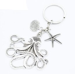 squid gifts 2020 - Ancient Silver Sea Monster Keychain Big octopus squid Charm Pendant key chain Men Women Holiday Gift Keychain discount s