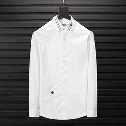 white color shirts NZ - Brand Designer Men Women Shirts Collar Queen Bee Embroidery Casual Business Office Blue White Black Color Shirt Long Sleeve Blouse B100229V