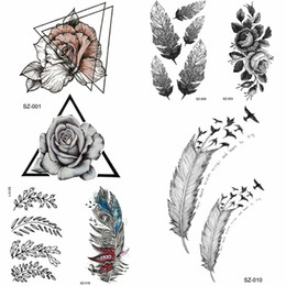 90920783f YURAN Black Triangle Flower Temporary Tattoo Stickers Women Body Arm Fake  Tatoos Tribal Feather Bird Waterproof Rose Tattoo