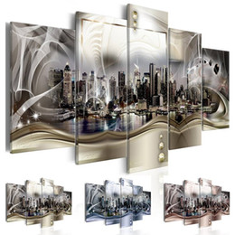 $enCountryForm.capitalKeyWord Australia - Fashion Wall Art Canvas Painting 5 Pieces New York City Architectural landscape Modern Home Decoration,No Frame