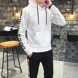 White Velour Suit Australia - Men Sportswear Hoodie And Sweatshirts Black White Autumn Winter Jogger Sporting Suit Mens Sweat Suits Tracksuits Set Plus Size M-4XL 418-27