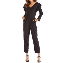 jumpsuits UK - Overalls for Women Jumpsuit Fashion Ruffles Solid Long Sleeve Pencil Pants Jumpsuit Overall Romper Women 2019