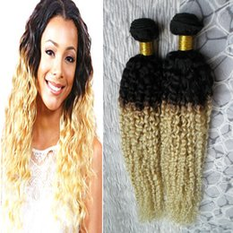 $enCountryForm.capitalKeyWord Australia - Ombre Brazilian Hair 10-26inch 2 Piece Peruvian Kinky Curly Hair Extension 100% Non Remy Human Hair weave Bundles