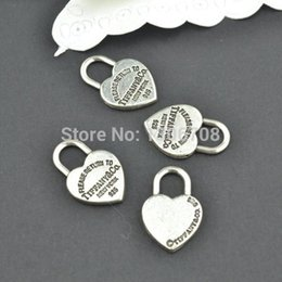 $enCountryForm.capitalKeyWord Australia - Wholesale- 50pcs Antique metal tibetan silver charms hearts lock jewelry pendants for diy necklace bracelet jewelry findings 20*13mm Z42903