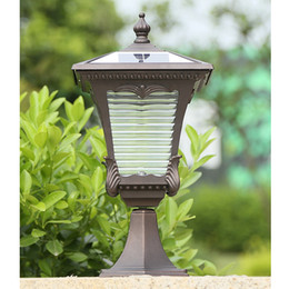 street lights post UK - New arrivals solar power post lamps outdoor waterproof brown garden lights decorative landscape solar light led post lighting fixtures