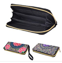 Embroidered Wallet Women NZ - Exquisite Handmade Embroidery Purse Embroidered Women Long Wallet Linen Party Day Clutch Handbag Vintage National foral