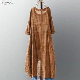 Robes 5xl online shopping - Long Sleeve Dress Check Womens Dress Female Long Sleeve Check Plaid Vestidos Summer Sundress Casual Robe Femme Xl