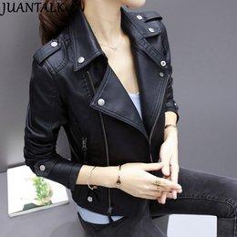 $enCountryForm.capitalKeyWord Australia - Juantalk Fashion Brand Leather Jackets Women Rivet Zipper Motorcycle Faux Soft Leather Coat Female Paragraph Lapel Pu Jacket S19824