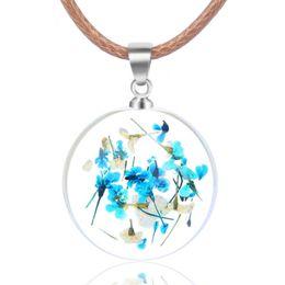 $enCountryForm.capitalKeyWord Australia - Handmade Dried Flower Necklace Dandelion Starry Glass Ball Small Fresh Pendant Female Clavicle Chain Eternal Flower Sweater Chain