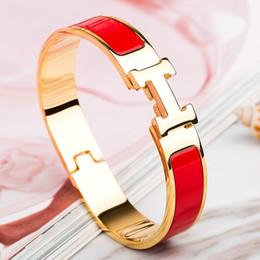 venda por atacado Designers de aço inoxidável de qualidade superior de luxo Cuff BraceletsBangles pulseira esmalte Bangle H fivela de ouro clássicos pulseiras Marca