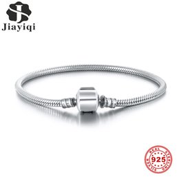 fish bone silver bracelet UK - Jiayiqi S925 Snake Bone Chain Oval Buckle 925 Silver Bracelet Fit Pandora Charms Silver 925 Original DIY 925 Silver Jewelry CX200702