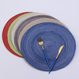 round placemats wholesale NZ - 36cm Round Woven Placemats for Dining Table Heat Resistant Wipeable Placemat non-slip Washable Kitchen Place Mats Holiday Party table pad