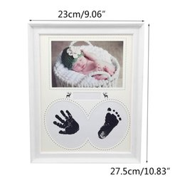 modern living photo frame UK - Photo Frame Baby Photo Frame Newborn Wall For Pictures Handprint Footprint Ink Pad Frame Kid Birthday Gift Cadre Room Decor Frames