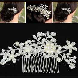 $enCountryForm.capitalKeyWord UK - Elegant Women Bride Crystal Pearl Flower Hair Comb Bling Bling Silver Tone Hair Clips Wedding Party Jewelry Accessories