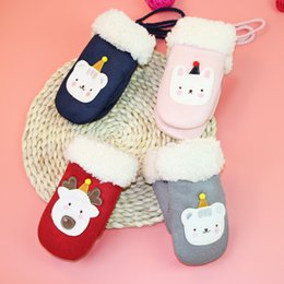 christmas wool mittens UK - Gloves children's new winter cartoon Christmas deer bag finger Plush thickened warm cordable gloves