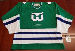 15c4d59784f Wholesale Custom Hartford Whalers Vintage CCM Cheap Hockey Jersey Green New Mens  Retro Jerseys