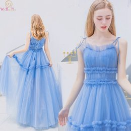 $enCountryForm.capitalKeyWord Australia - Light Blue Prom Dresses 2019 New Sweetheart Neck Spaghetti Straps Elegant Lace Up Illusion Formal Evening Party Graduation Gowns