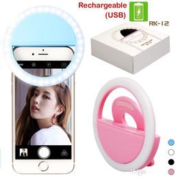 RK12 Recargable Selfie Ring LED Cámara Luz de relleno Fotografía Flash Light Up Selfie Luminoso Anillo con cable USB Maquillaje luz Juguetes K054